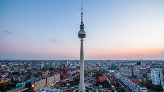 berlin skyline with tv tower at sunset , germany - alexanderplatz stock videos & royalty-free footage