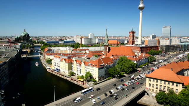 berlin skyline with tv tower, panning - balkon stock videos & royalty-free footage
