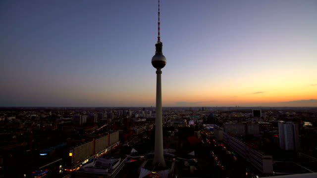 berlin skyline with tv tower, realtime - panoramic stock videos and b-roll footage