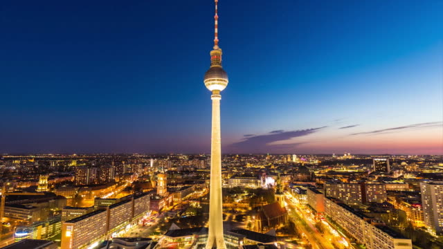 berlin skyline with tv-tower by sunset - alexanderplatz stock videos & royalty-free footage