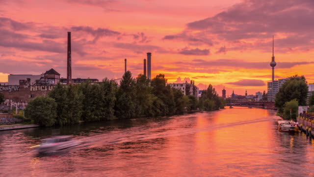 Berlin Spree City Skyline Summer Timelapse from Day to Night with Sunset and Motion in Berlin-Mitte