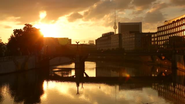 Berlin Spree City Skyline Summer with Sun in Berlin-Mitte