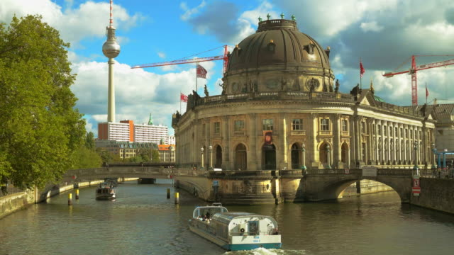 berlin spree river at bode-museum with excursion boats and tv tower, germany - city break stock videos & royalty-free footage