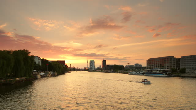 Berlin Spree Skyline Summer Sunset with Ship
