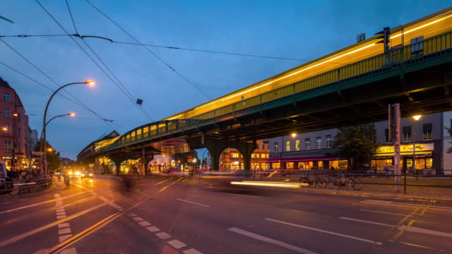 Berlin Street City Timelapse from Day to Night with Traffic Trains and Lights
