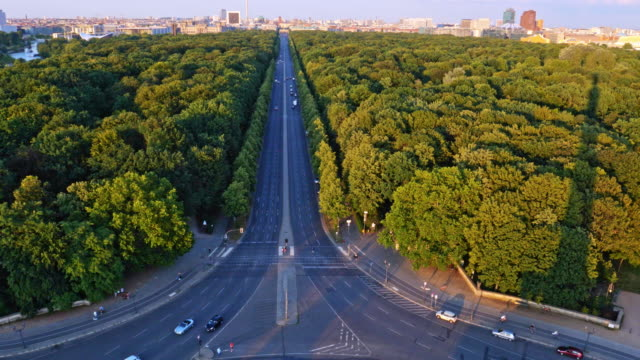 berlin street, park and skyline at twilight - avenue stock videos & royalty-free footage