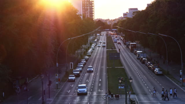 berlin street, park and train at twilight - avenue stock videos & royalty-free footage