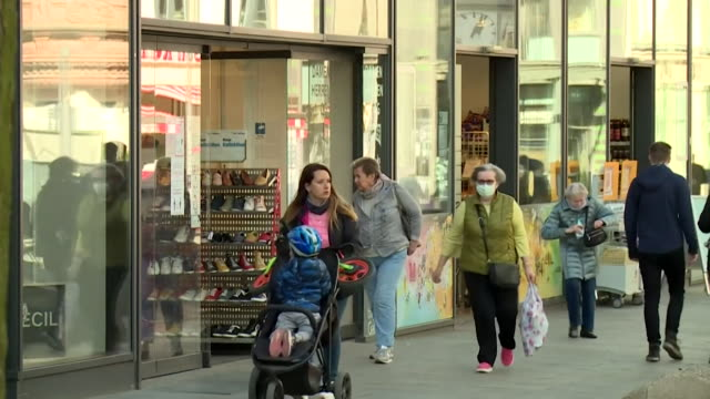"""berlin street scenes after coronavirus lockdown as certain restrictions begin to be lifted and some shops reopen - """"bbc news"""" stock-videos und b-roll-filmmaterial"""
