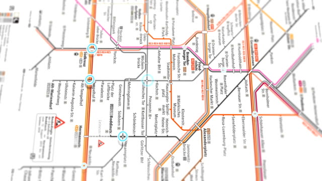berlin subway map localization - seamless 4k loop - rail transportation stock videos & royalty-free footage