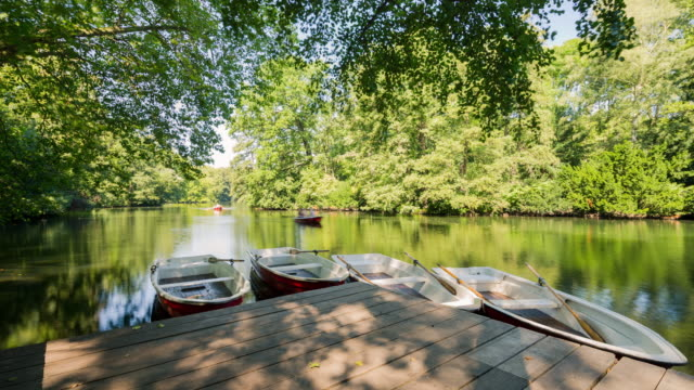 Berlin Summer Sea with ghosting Rowboats creative Timelapse