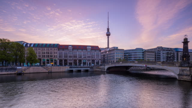 Berlin Summer Skyline Night to Day Timelapse with dramatic Sky