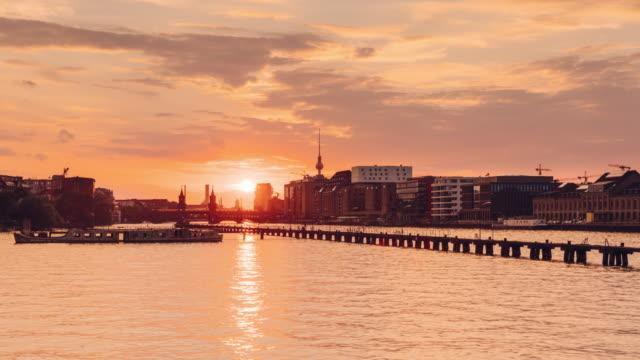 Berlin Summer Sunset Spree Skyline Timelapse from Day to Night