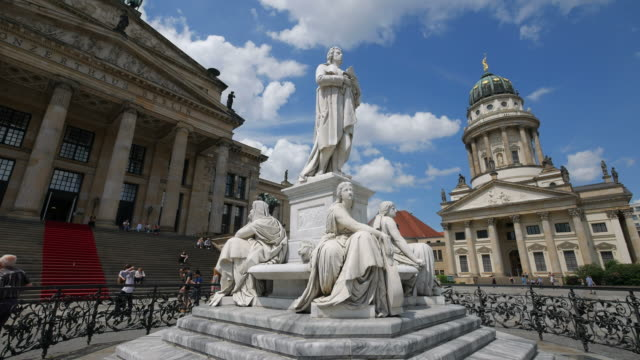 Berlin Theatre, Schiller Monument and French Cathedral on Gendarmenmarkt Square, Berlin, Germany