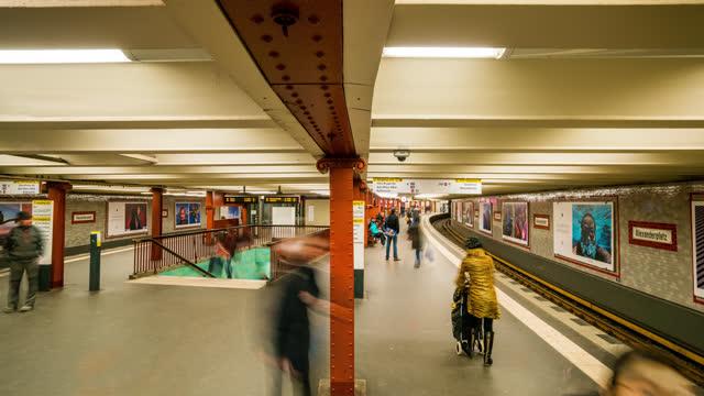berlin  timelapse view of the alexanderplatz ubahn station in berlin - alexanderplatz stock videos & royalty-free footage