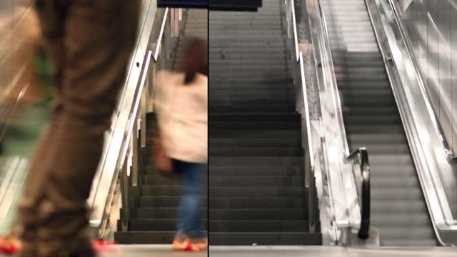 vídeos de stock, filmes e b-roll de estação de trem de berlim escadas comutando de ninguém para paisagem urbana lotada - trilha passagem de pedestres