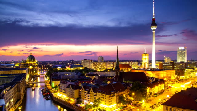 berlin twilight skyline during sunset 4k time lapse, germany - berlin stock videos & royalty-free footage
