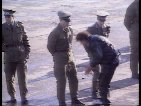 Berlin Wall border opening reactions WEST GERMANY West Berlin EXT / NIGHT **BEWARE Various of ecstatic and emotional West Berliners welcoming East...