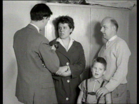 berlin wall collection tx 2771961 berlin refugees east german refugees queue intvw woman standing with her husband and young son they taught at... - 1961 stock-videos und b-roll-filmmaterial