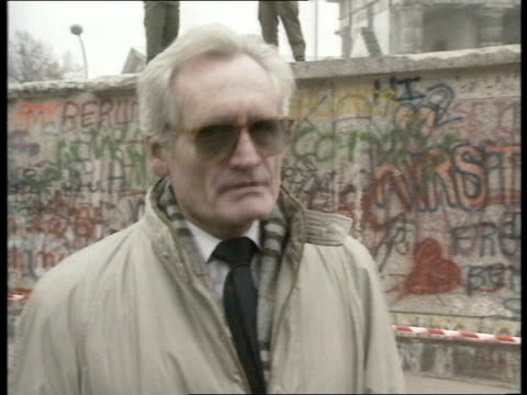 Berlin Wall reaction to border opening WEST GERMANY West Berlin EXT Klaus Franke interview SOT
