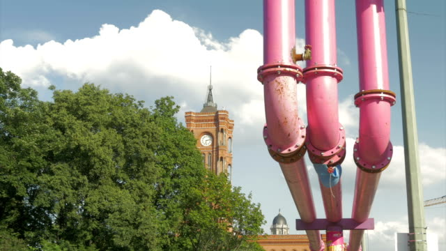 berlin, water pipes above ground - pipe stock videos & royalty-free footage