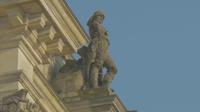 berlin,reichstag building detail statue,zo - the reichstag stock videos & royalty-free footage