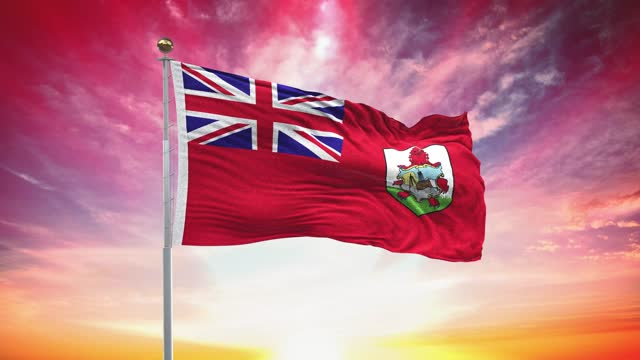 bermuda flag, loopable, included green screen chroma key version, waving in wind slow motion animation, 4k realistic fabric texture, continuous seamless loop background - atlantic islands stock videos & royalty-free footage