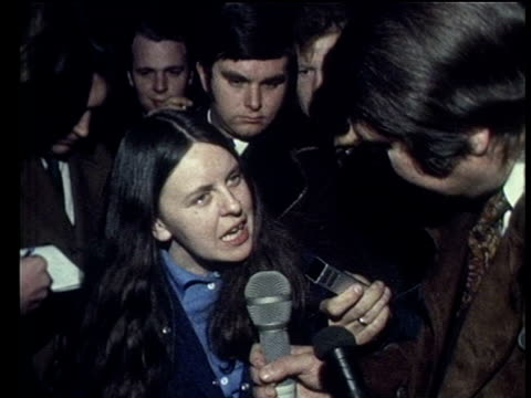 bernadette devlin mp is asked if she will apologise for striking home secretary reginald maudling during house of commons debate on events of bloody... - ロンドンデリー点の映像素材/bロール