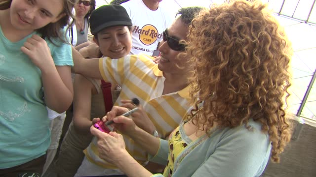 bernadette peters at the bernadette peters visits the empire state building at new york ny - bernadette peters stock videos and b-roll footage