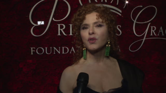 interview bernadette peters on feeling honored and loving how this organization takes care of their award winners at 2019 princes grace awards gala... - バーナデット ピータース点の映像素材/bロール
