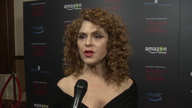 interview bernadette peters on the show on her character on working on an amazon show a show with music holiday plans at mozart in the jungle... - バーナデット ピータース点の映像素材/bロール