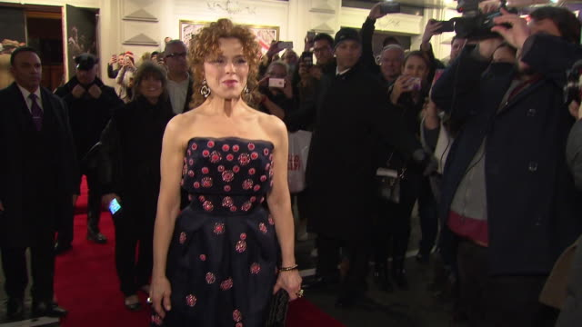 bernadette peters walks on the red carpet across 44th street at bernadette peters' opening night of hello dolly on broadway on february 22 2018 in... - バーナデット ピータース点の映像素材/bロール