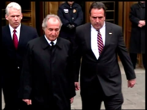 bernard madoff exiting court bernard madoff exiting federal courthouse on march 10 2009 in new york new york - federal building stock videos & royalty-free footage