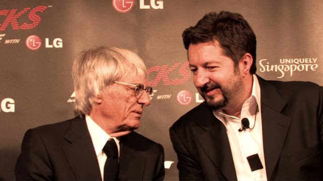 bernie ecclestone and pual morrison - c.e.o of 'all the worlds' at the f1 rocks launch at london england. - bernie ecclestone stock videos & royalty-free footage