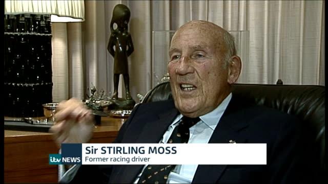 bernie ecclestone court case int sir sterling moss interview sot - bernie ecclestone stock videos & royalty-free footage