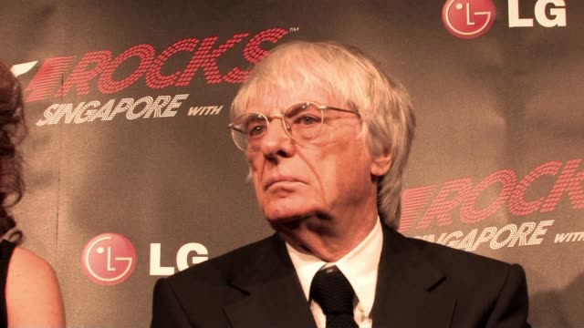 bernie ecclestone on michael schumacher coming back at the f1 rocks launch at london england. - bernie ecclestone stock videos & royalty-free footage