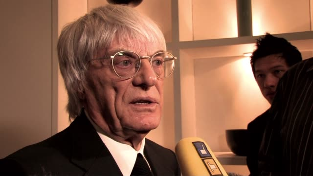 bernie ecclestone on michael schumacher on testing and him coming back to race at the f1 rocks launch at london england - bernie ecclestone stock videos & royalty-free footage