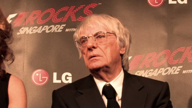 bernie ecclestone on michael schumacher testing at the f1 rocks launch at london england. - bernie ecclestone stock videos & royalty-free footage