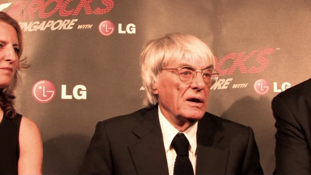 bernie ecclestone on opening of f1 rocks in singapore at the f1 rocks launch at london england - bernie ecclestone stock videos & royalty-free footage