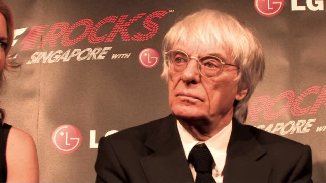 bernie ecclestone on whether michael schumacher is coming back only for a few races until felipe massa gets back at the f1 rocks launch at london... - bernie ecclestone stock videos & royalty-free footage