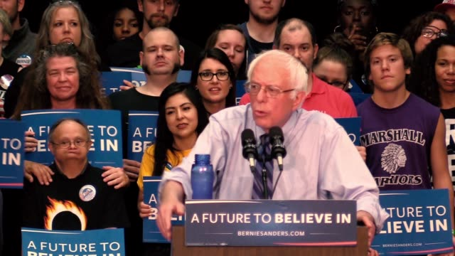 Bernie Sanders addresses a large audience of supporters during a campaign rally at the Century Center in South Bend Ind before the Indiana Primary...