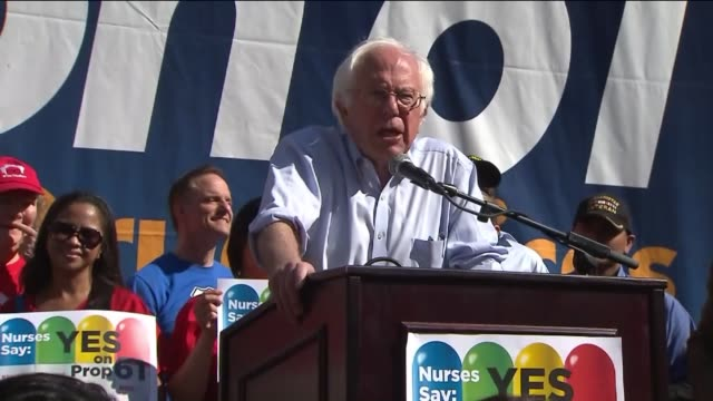 bernie sanders campaigns for prop. 61 in california. - verkaufsargument stock-videos und b-roll-filmmaterial