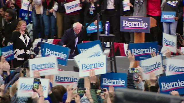 bernie sanders, democratic presidential candidate, at election rally after winning the new hampshire primary election - political rally stock videos & royalty-free footage