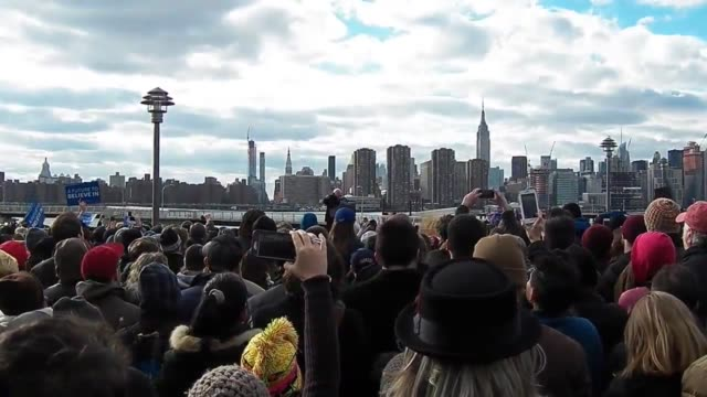 bernie sanders speaks at his rally in greenpoint brooklyn four security lines stretched the entire block with a oneblock long line feeding into them - greenpoint brooklyn stock videos & royalty-free footage
