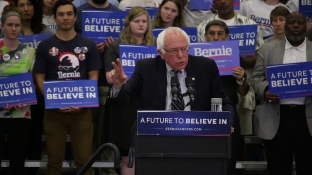 bernie sanders speaks at the fitzgerald field house at the university of pittsburgh on april 25 - socialism stock videos & royalty-free footage