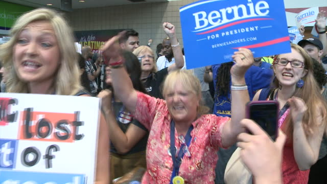 Bernie Sanders supporters chant This is what Democracy looks like inside the Democratic National Convention Democratic National Convention 2016 at...