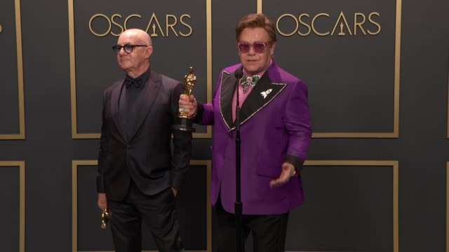 bernie taupin, elton john at the 92nd annual academy awards - press room at dolby theatre on february 09, 2020 in hollywood, california. - elton john stock videos & royalty-free footage