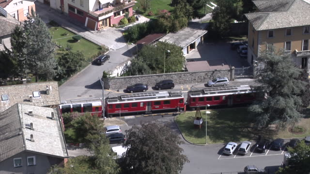 bernina express in the streets of tirano - 1 minute or greater stock videos & royalty-free footage