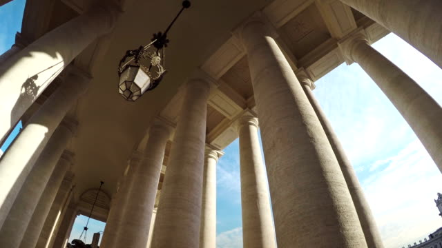 bernini columnade at saint peter square in vatican - state of the vatican city stock videos and b-roll footage