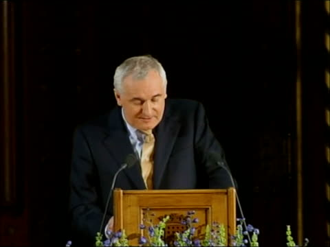 bertie ahern speech to uk houses of parliament; bertie ahern speech sot - in 1998, in a groundbreaking act of recognition of our shared journey /... - the world's end stock videos & royalty-free footage