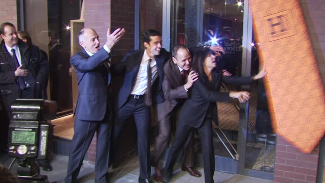 bertrand puech federico sandino robert chavez and veronique nichanian at the opening of first hermes men's store on madison avenue in new york at new... - hermes designer label stock videos and b-roll footage